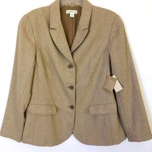 Coldwater Creek Herringbone Tan Tweed Jacket 16